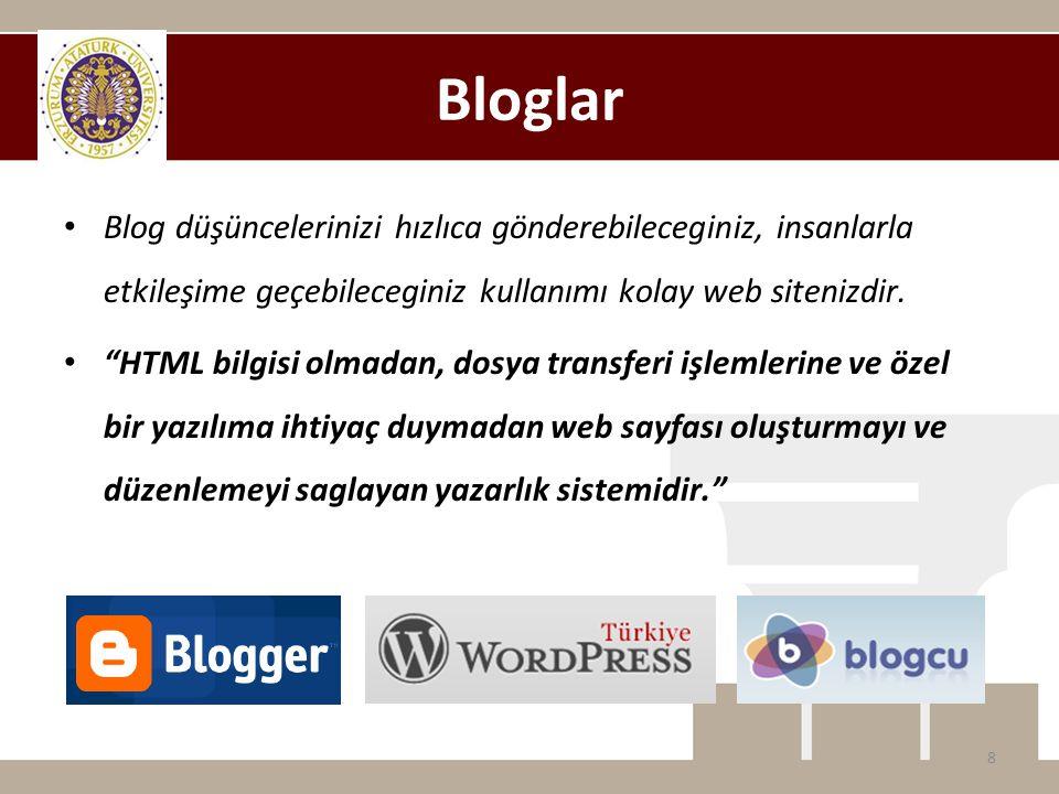 """Bloglar • Blog düşüncelerinizi hızlıca gönderebileceginiz, insanlarla etkileşime geçebileceginiz kullanımı kolay web sitenizdir. • """"HTML bilgisi olmad"""