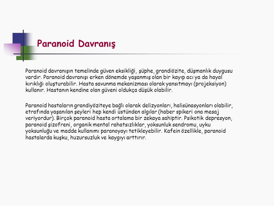 Paranoid Davranış Paranoid davranışın temelinde güven eksikliği, şüphe, grandiözite, düşmanlık duygusu vardır. Paranoid davranışı erken dönemde yaşanm