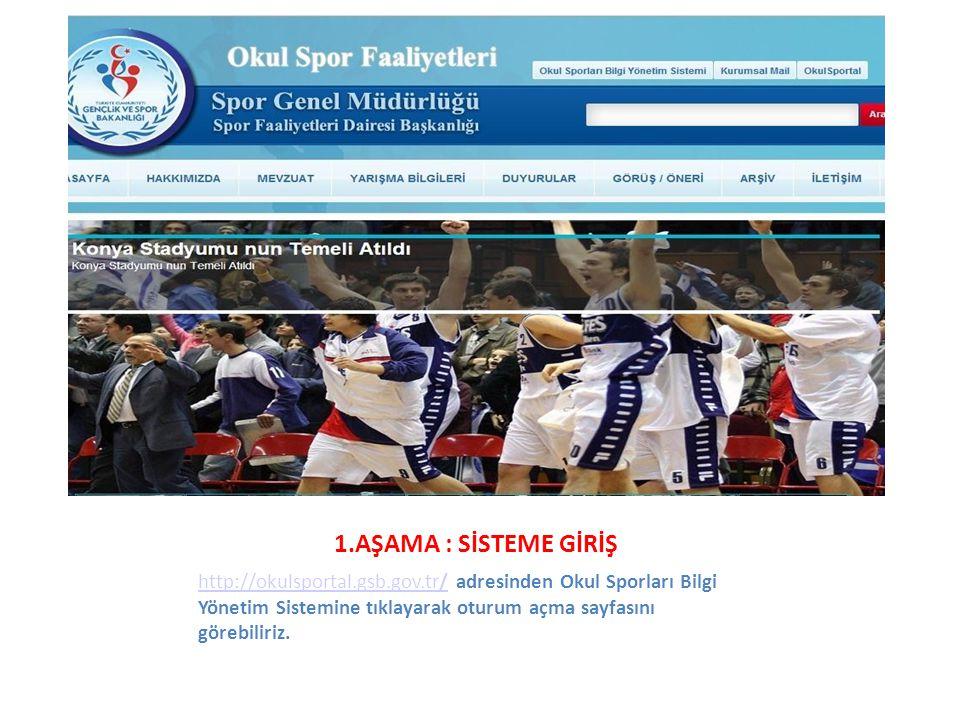 1.AŞAMA : SİSTEME GİRİŞ http://okulsportal.gsb.gov.tr/http://okulsportal.gsb.gov.tr/ adresinden Okul Sporları Bilgi Yönetim Sistemine tıklayarak oturu