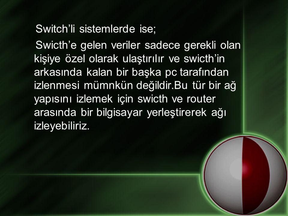 Switch'li sistemlerde ise; Swicth'e gelen veriler sadece gerekli olan kişiye özel olarak ulaştırılır ve swicth'in arkasında kalan bir başka pc tarafın