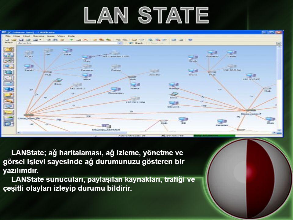 LANState; ağ haritalaması, ağ izleme, yönetme ve görsel işlevi sayesinde ağ durumunuzu gösteren bir yazılımdır. LANState sunucuları, paylaşılan kaynak