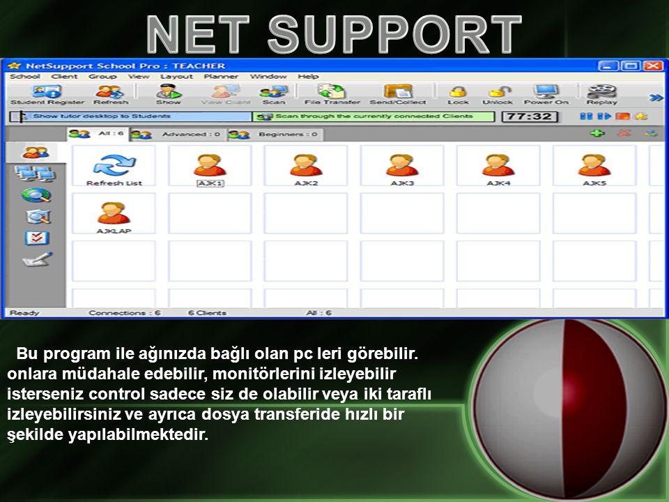 Bu program ile ağınızda bağlı olan pc leri görebilir.