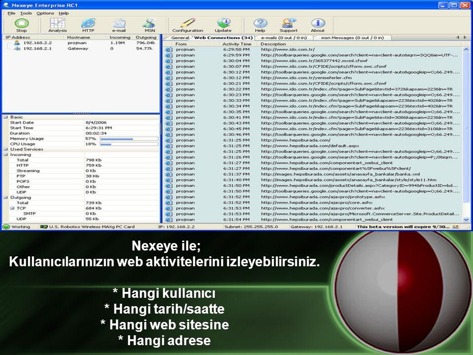 Nexeye ile; Kullanıcılarınızın web aktivitelerini izleyebilirsiniz. * Hangi kullanıcı * Hangi tarih/saatte * Hangi web sitesine * Hangi adrese