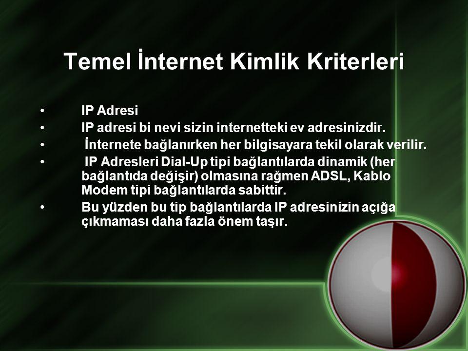 Temel İnternet Kimlik Kriterleri •IP Adresi •IP adresi bi nevi sizin internetteki ev adresinizdir. • İnternete bağlanırken her bilgisayara tekil olara