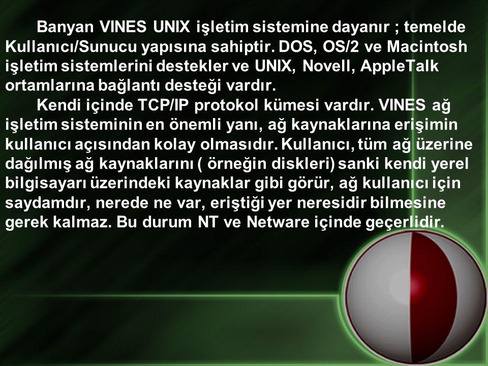 Banyan VINES UNIX işletim sistemine dayanır ; temelde Kullanıcı/Sunucu yapısına sahiptir. DOS, OS/2 ve Macintosh işletim sistemlerini destekler ve UNI