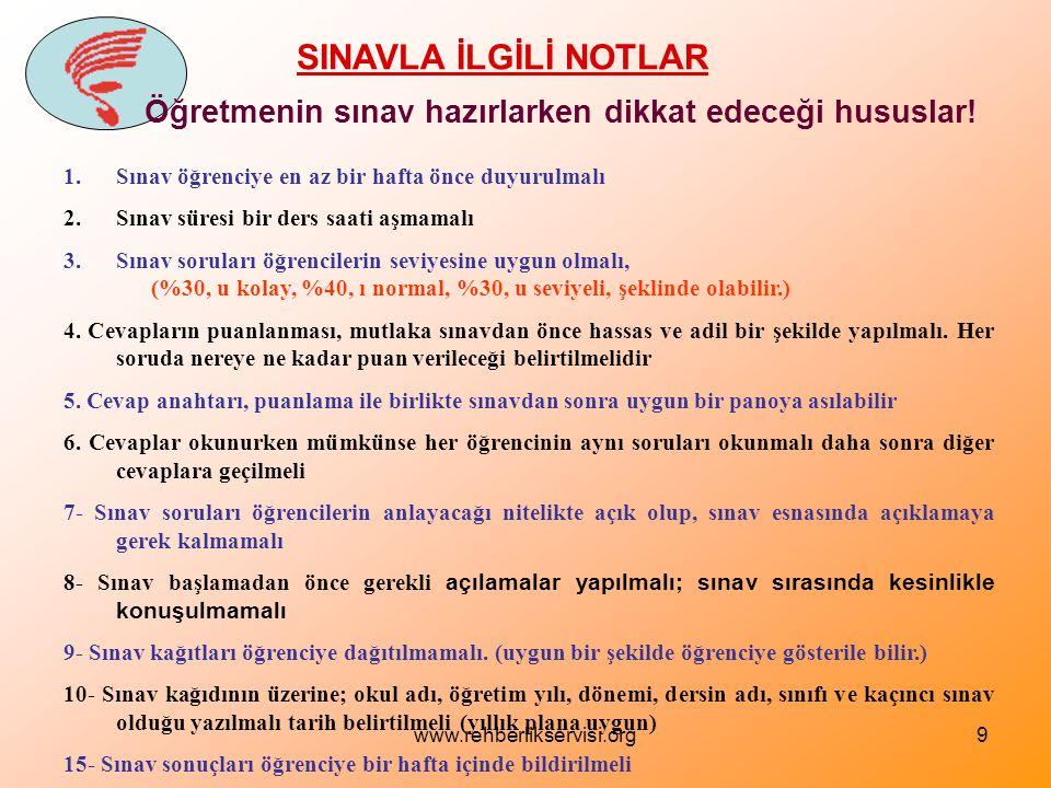 www.rehberlikservisi.org9 SINAVLA İLGİLİ NOTLAR Öğretmenin sınav hazırlarken dikkat edeceği hususlar.