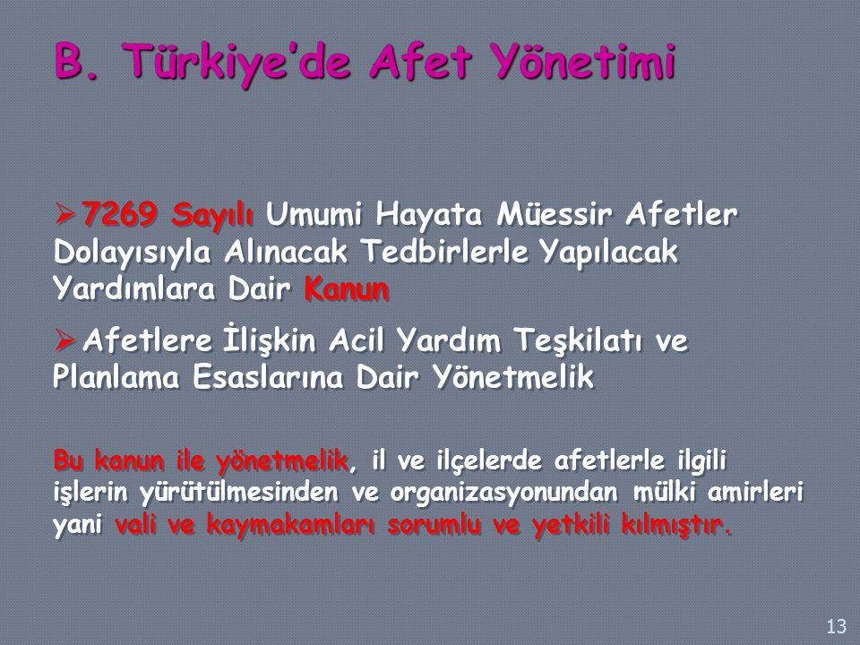 B. Türkiye'de Afet Yönetimi  7269 Sayılı Umumi Hayata Müessir Afetler Dolayısıyla Alınacak Tedbirlerle Yapılacak Yardımlara Dair Kanun  Afetlere İli