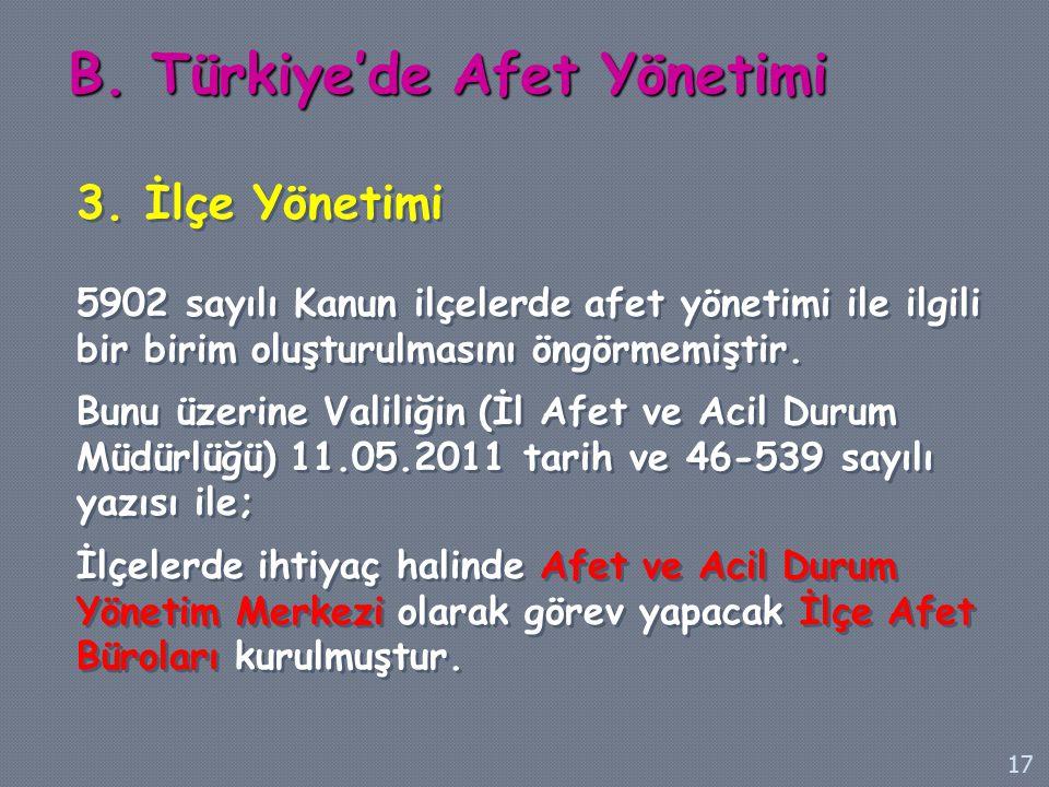 B. Türkiye'de Afet Yönetimi 3. İlçe Yönetimi 5902 sayılı Kanun ilçelerde afet yönetimi ile ilgili bir birim oluşturulmasını öngörmemiştir. Bunu üzerin