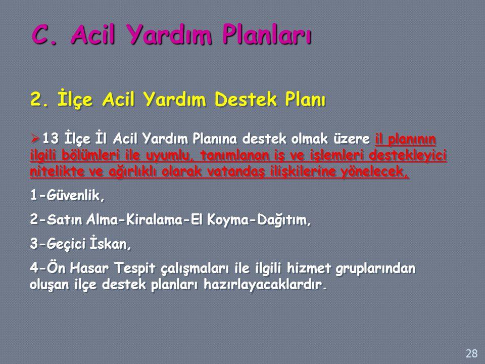 2. İlçe Acil Yardım Destek Planı  13 İlçe İl Acil Yardım Planına destek olmak üzere il planının ilgili bölümleri ile uyumlu, tanımlanan iş ve işlemle