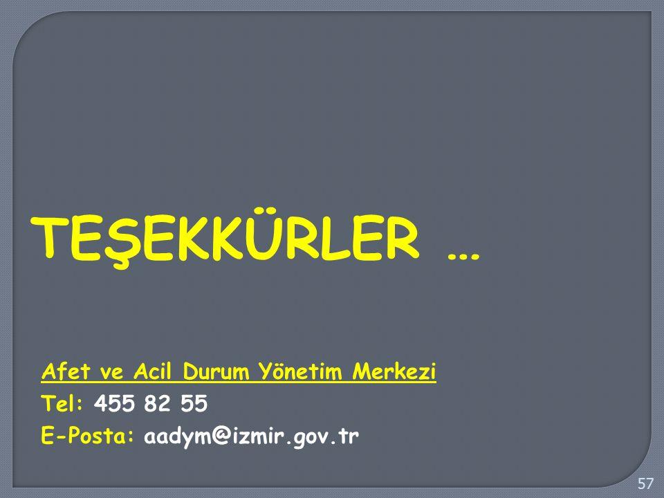 TEŞEKKÜRLER … 57 Afet ve Acil Durum Yönetim Merkezi Tel: 455 82 55 E-Posta: aadym@izmir.gov.tr