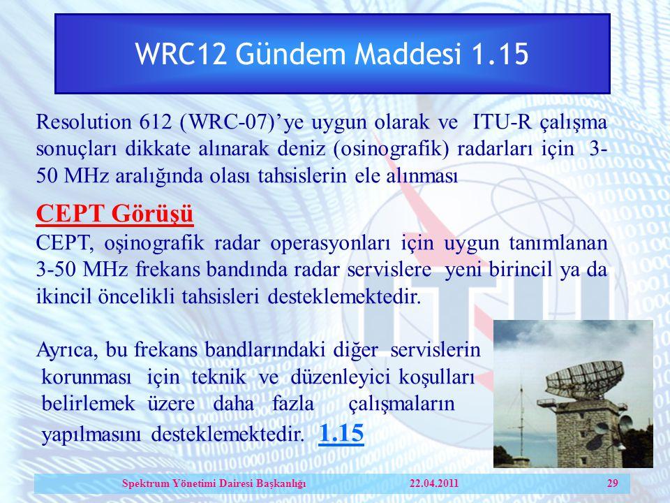 WRC12 Gündem Maddesi 1.15 Resolution 612 (WRC-07)'ye uygun olarak ve ITU-R çalışma sonuçları dikkate alınarak deniz (osinografik) radarları için 3- 50 MHz aralığında olası tahsislerin ele alınması CEPT Görüşü CEPT, oşinografik radar operasyonları için uygun tanımlanan 3-50 MHz frekans bandında radar servislere yeni birincil ya da ikincil öncelikli tahsisleri desteklemektedir.