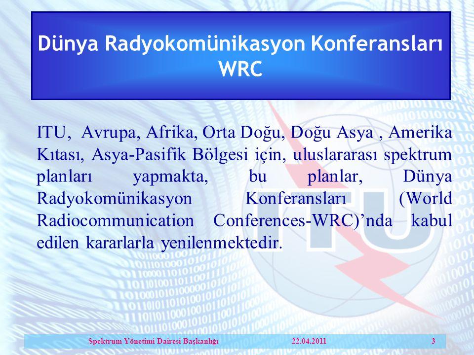 Dünya Radyokomünikasyon Konferansları WRC ITU, Avrupa, Afrika, Orta Doğu, Doğu Asya, Amerika Kıtası, Asya-Pasifik Bölgesi için, uluslararası spektrum planları yapmakta, bu planlar, Dünya Radyokomünikasyon Konferansları (World Radiocommunication Conferences-WRC)'nda kabul edilen kararlarla yenilenmektedir.
