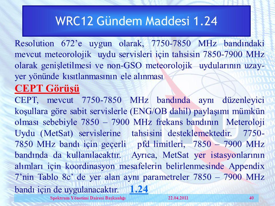 WRC12 Gündem Maddesi 1.24 Resolution 672'e uygun olarak, 7750-7850 MHz bandındaki mevcut meteorolojik uydu servisleri için tahsisin 7850-7900 MHz olarak genişletilmesi ve non-GSO meteorolojik uydularının uzay- yer yönünde kısıtlanmasının ele alınması CEPT Görüşü CEPT, mevcut 7750-7850 MHz bandında aynı düzenleyici koşullara göre sabit servislerle (ENG/OB dahil) paylaşımı mümkün olması sebebiyle 7850 – 7900 MHz frekans bandının Meteroloji Uydu (MetSat) servislerine tahsisini desteklemektedir.