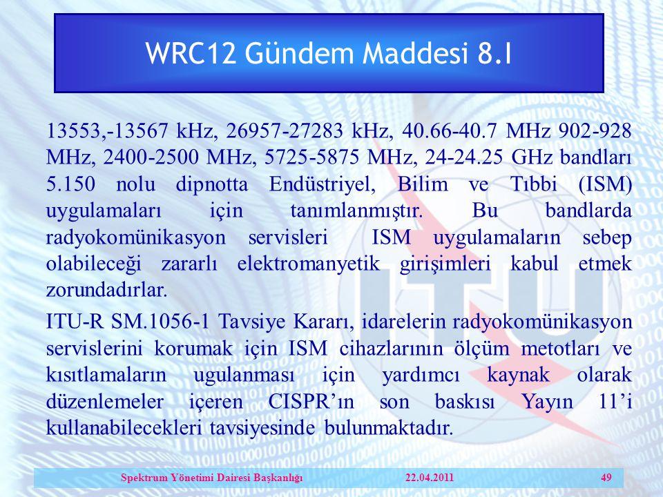 WRC12 Gündem Maddesi 8.I 13553,-13567 kHz, 26957-27283 kHz, 40.66-40.7 MHz 902-928 MHz, 2400-2500 MHz, 5725-5875 MHz, 24-24.25 GHz bandları 5.150 nolu dipnotta Endüstriyel, Bilim ve Tıbbi (ISM) uygulamaları için tanımlanmıştır.