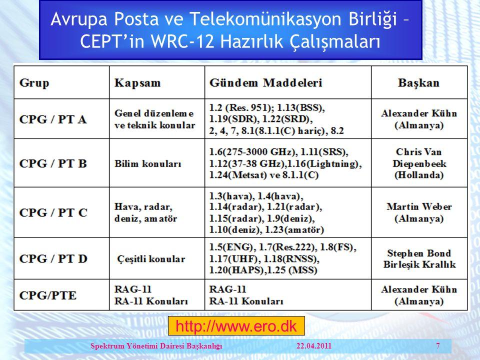 Avrupa Posta ve Telekomünikasyon Birliği – CEPT'in WRC-12 Hazırlık Çalışmaları Spektrum Yönetimi Dairesi Başkanlığı 22.04.2011 7 http://www.ero.dk