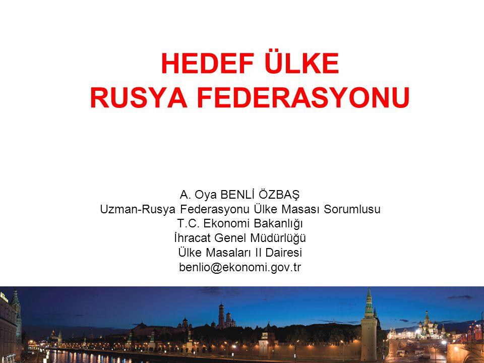 HEDEF ÜLKE RUSYA FEDERASYONU A. Oya BENLİ ÖZBAŞ Uzman-Rusya Federasyonu Ülke Masası Sorumlusu T.C. Ekonomi Bakanlığı İhracat Genel Müdürlüğü Ülke Masa