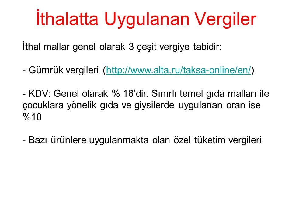 İthalatta Uygulanan Vergiler İthal mallar genel olarak 3 çeşit vergiye tabidir: - Gümrük vergileri (http://www.alta.ru/taksa-online/en/)http://www.alt