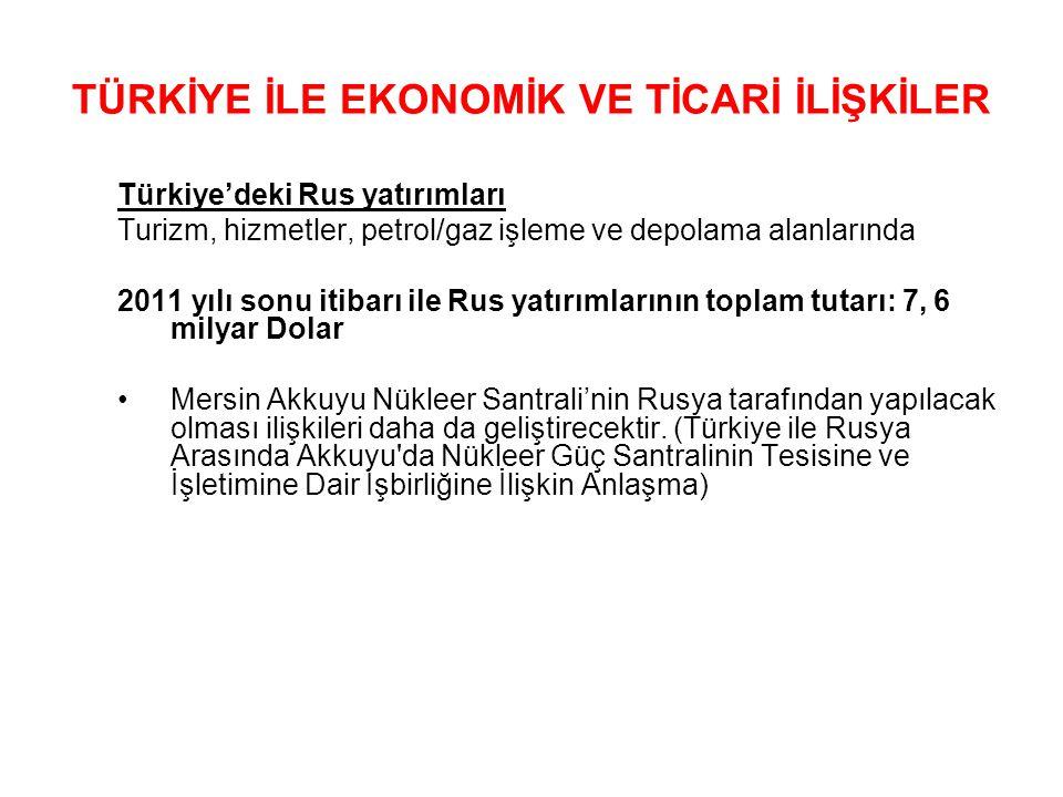 Türkiye'deki Rus yatırımları Turizm, hizmetler, petrol/gaz işleme ve depolama alanlarında 2011 yılı sonu itibarı ile Rus yatırımlarının toplam tutarı:
