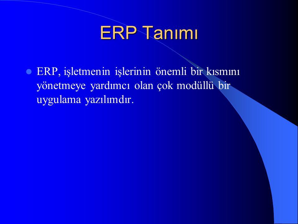 ERP Tanımı  ERP, işletmenin işlerinin önemli bir kısmını yönetmeye yardımcı olan çok modüllü bir uygulama yazılımdır.