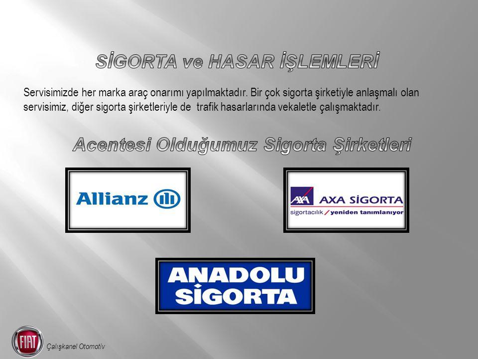 Servisimizde her marka araç onarımı yapılmaktadır. Bir çok sigorta şirketiyle anlaşmalı olan servisimiz, diğer sigorta şirketleriyle de trafik hasarla