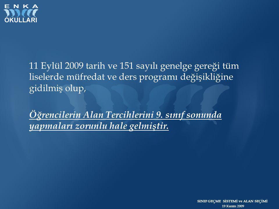 SINIF GEÇME SİSTEMİ ve ALAN SEÇİMİ 19 Kasım 2009 11 Eylül 2009 tarih ve 151 sayılı genelge gereği tüm liselerde müfredat ve ders programı değişikliğin