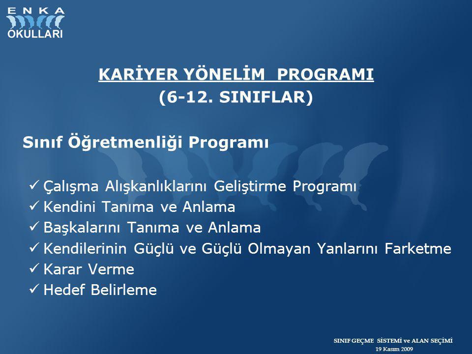 SINIF GEÇME SİSTEMİ ve ALAN SEÇİMİ 19 Kasım 2009 KARİYER YÖNELİM PROGRAMI (6-12. SINIFLAR) Sınıf Öğretmenliği Programı  Çalışma Alışkanlıklarını Geli