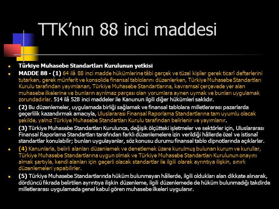 TTK'nın 88 inci maddesi  Türkiye Muhasebe Standartları Kurulunun yetkisi  MADDE 88 - (1) 64 ilâ 88 inci madde hükümlerine tâbi gerçek ve tüzel kişil