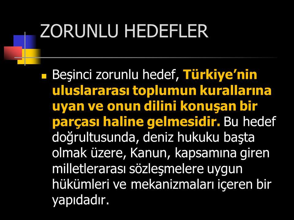 ZORUNLU HEDEFLER  Beşinci zorunlu hedef, Türkiye'nin uluslararası toplumun kurallarına uyan ve onun dilini konuşan bir parçası haline gelmesidir. Bu
