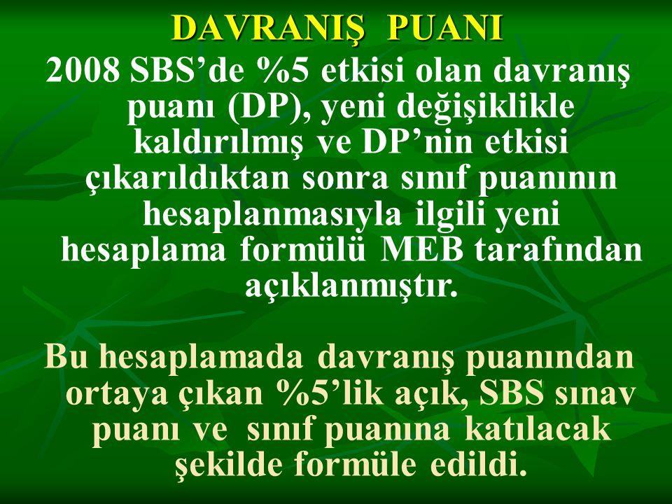 DAVRANIŞ PUANI 2008 SBS'de %5 etkisi olan davranış puanı (DP), yeni değişiklikle kaldırılmış ve DP'nin etkisi çıkarıldıktan sonra sınıf puanının hesap