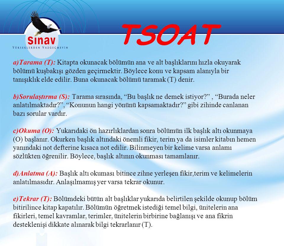 TSOAT a)Tarama (T): Kitapta okunacak bölümün ana ve alt başlıklarını hızla okuyarak bölümü kuşbakışı gözden geçirmektir.