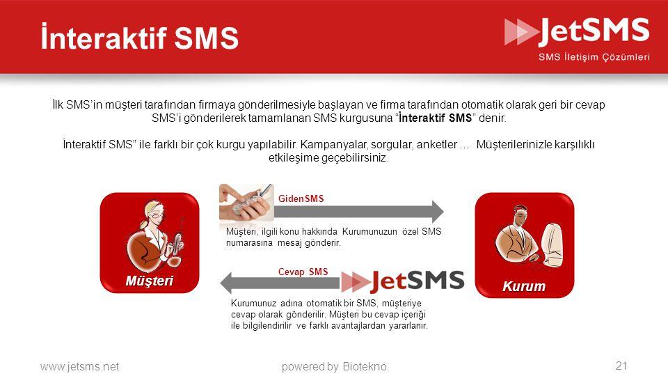 www.jetsms.netpowered by Biotekno İnteraktif SMS GidenSMS Müşteri, ilgili konu hakkında Kurumunuzun özel SMS numarasına mesaj gönderir. Kurumunuz adın