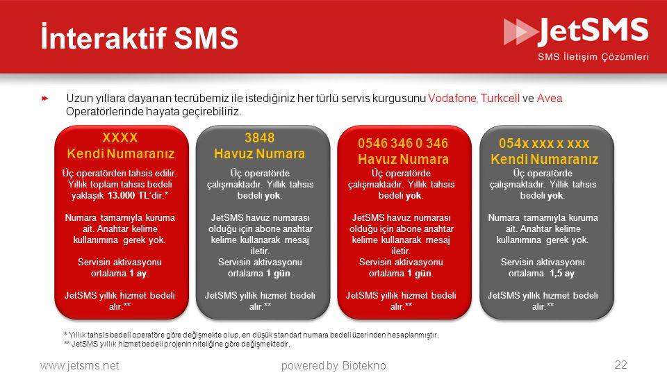 www.jetsms.netpowered by Biotekno İnteraktif SMS Uzun yıllara dayanan tecrübemiz ile istediğiniz her türlü servis kurgusunu Vodafone, Turkcell ve Avea Operatörlerinde hayata geçirebiliriz.