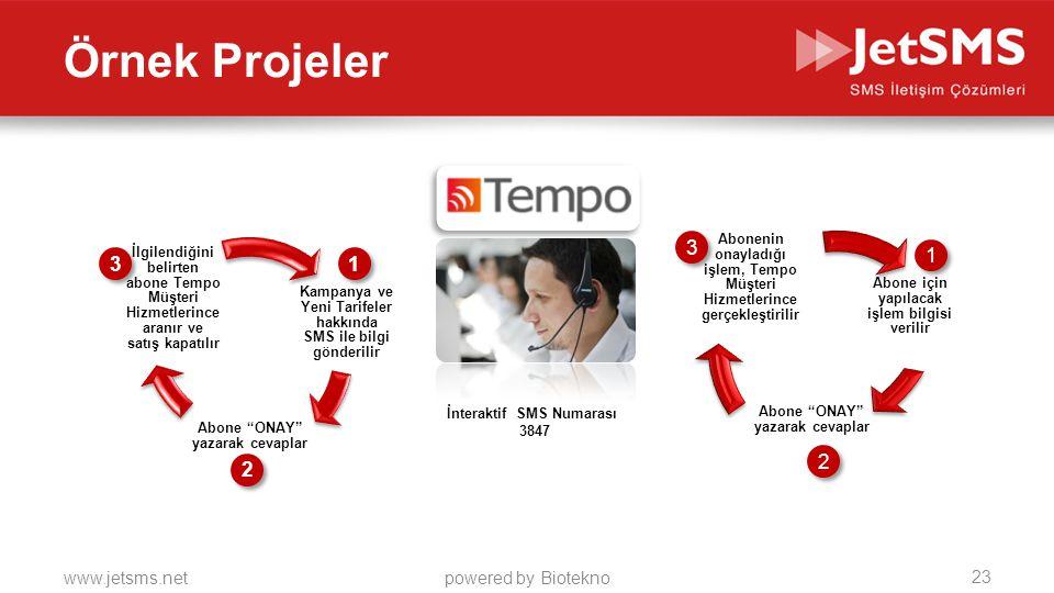 www.jetsms.netpowered by Biotekno Örnek Projeler Kampanya ve Yeni Tarifeler hakkında SMS ile bilgi gönderilir Abone ONAY yazarak cevaplar İlgilendiğini belirten abone Tempo Müşteri Hizmetlerince aranır ve satış kapatılır Abone için yapılacak işlem bilgisi verilir Abone ONAY yazarak cevaplar Abonenin onayladığı işlem, Tempo Müşteri Hizmetlerince gerçekleştirilir 1 1 1 1 2 2 2 2 3 3 3 3 İnteraktif SMS Numarası 3847 23