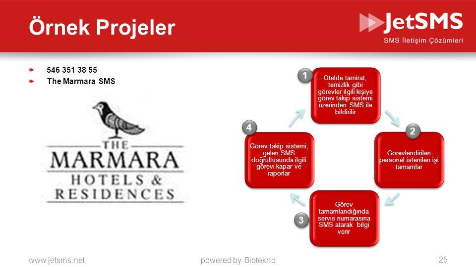 www.jetsms.netpowered by Biotekno 546 351 38 55 The Marmara SMS Otelde tamirat, temizlik gibi görevler ilgili kişiye görev takip sistemi üzerinden SMS ile bildirilir Görevlendirilen personel istenilen işi tamamlar Görev tamamlandığında servis numarasına SMS atarak bilgi verir Görev takip sistemi, gelen SMS doğrultusunda ilgili görevi kapar ve raporlar 1 1 2 2 3 3 4 4 25 Örnek Projeler