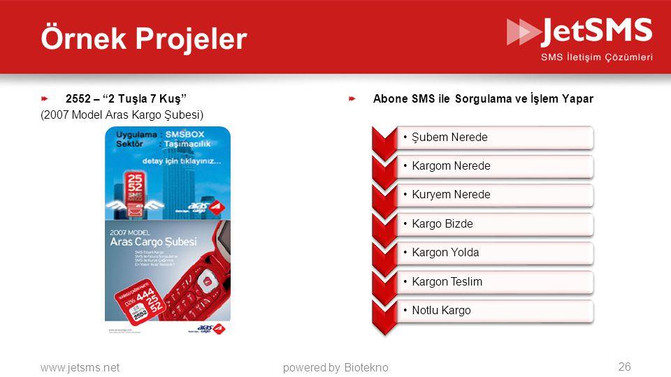 www.jetsms.netpowered by Biotekno 2552 – 2 Tuşla 7 Kuş (2007 Model Aras Kargo Şubesi) Abone SMS ile Sorgulama ve İşlem Yapar •Şubem Nerede •Kargom Nerede •Kuryem Nerede •Kargo Bizde •Kargon Yolda •Kargon Teslim •Notlu Kargo 26 Örnek Projeler