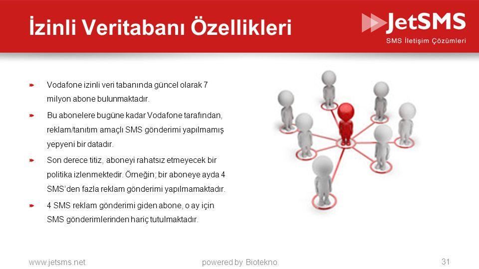 www.jetsms.netpowered by Biotekno Vodafone izinli veri tabanında güncel olarak 7 milyon abone bulunmaktadır.