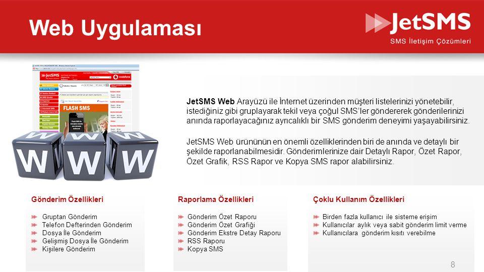 www.jetsms.netpowered by Biotekno JetSMS Web Arayüzü ile İnternet üzerinden müşteri listelerinizi yönetebilir, istediğiniz gibi gruplayarak tekil veya çoğul SMS'ler göndererek gönderilerinizi anında raporlayacağınız ayrıcalıklı bir SMS gönderim deneyimi yaşayabilirsiniz.