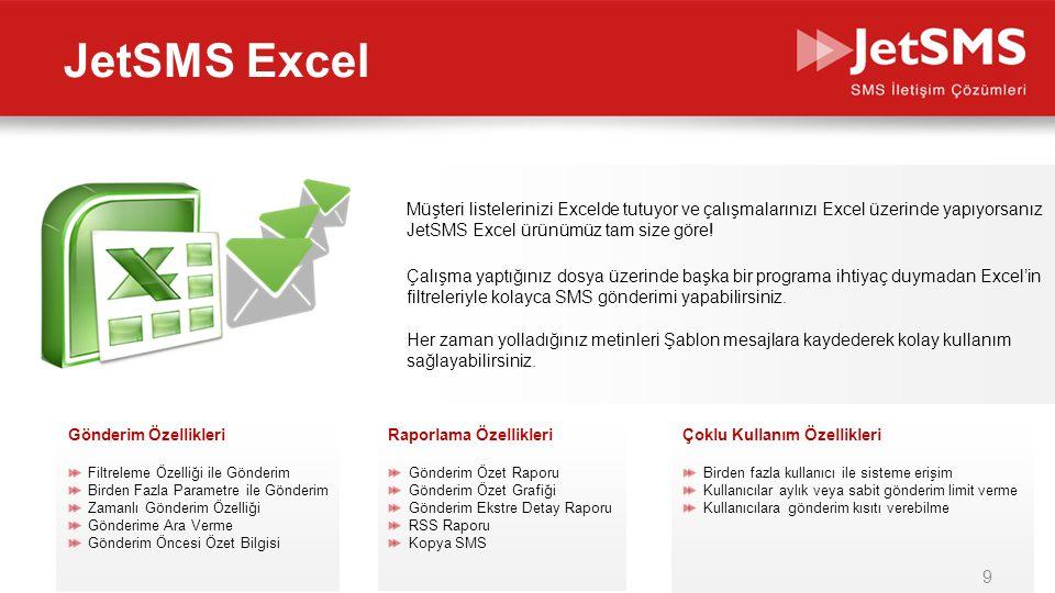 www.jetsms.netpowered by Biotekno Müşteri listelerinizi Excelde tutuyor ve çalışmalarınızı Excel üzerinde yapıyorsanız JetSMS Excel ürünümüz tam size