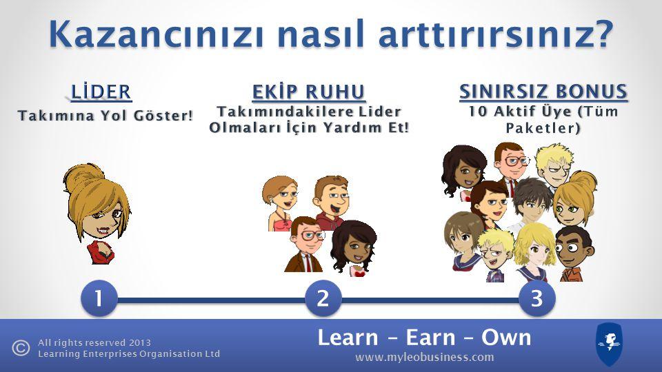 Learn – Earn – Own www.myleobusiness.com All rights reserved 2013 Learning Enterprises Organisation Ltd 3 9 27 81 120 £25 £3,000 Aylık Abonelik LEO Uz