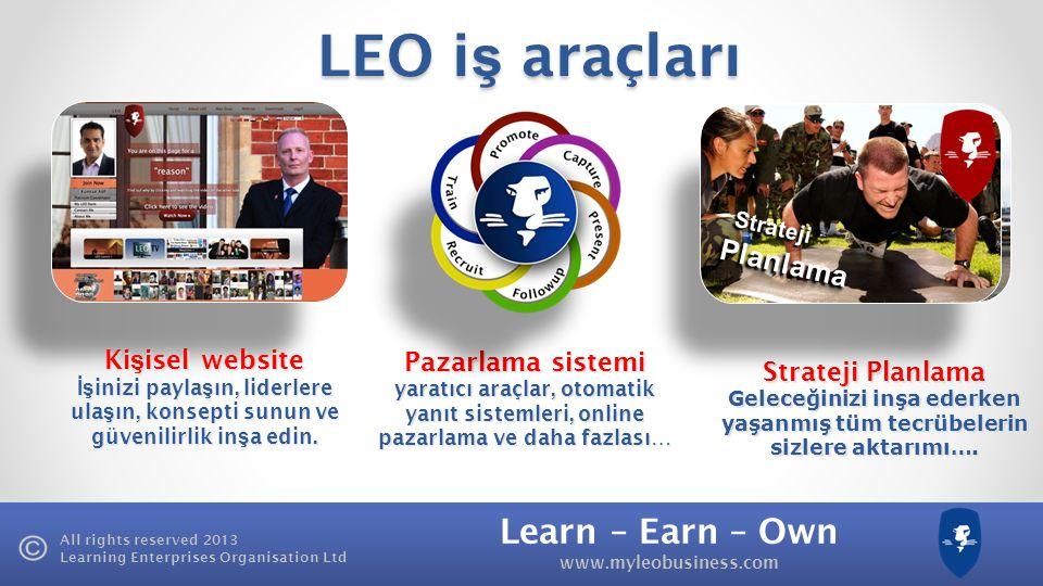 Learn – Earn – Own www.myleobusiness.com All rights reserved 2013 Learning Enterprises Organisation Ltd LEO İş Ortaklı ğ ı Programı Birikim | Kazanç T