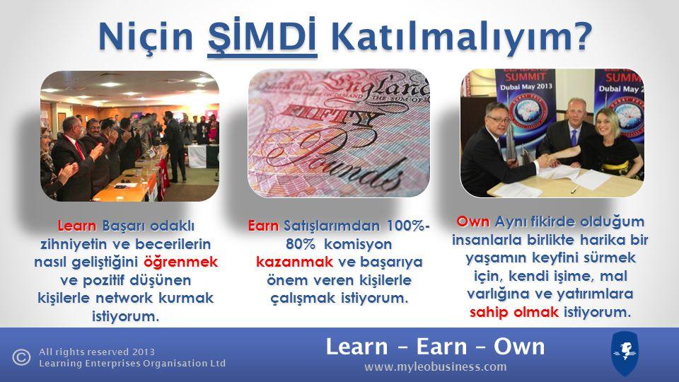 Learn – Earn – Own www.myleobusiness.com All rights reserved 2013 Learning Enterprises Organisation Ltd Learning Enterprises Organisation Ltd. Bölge M