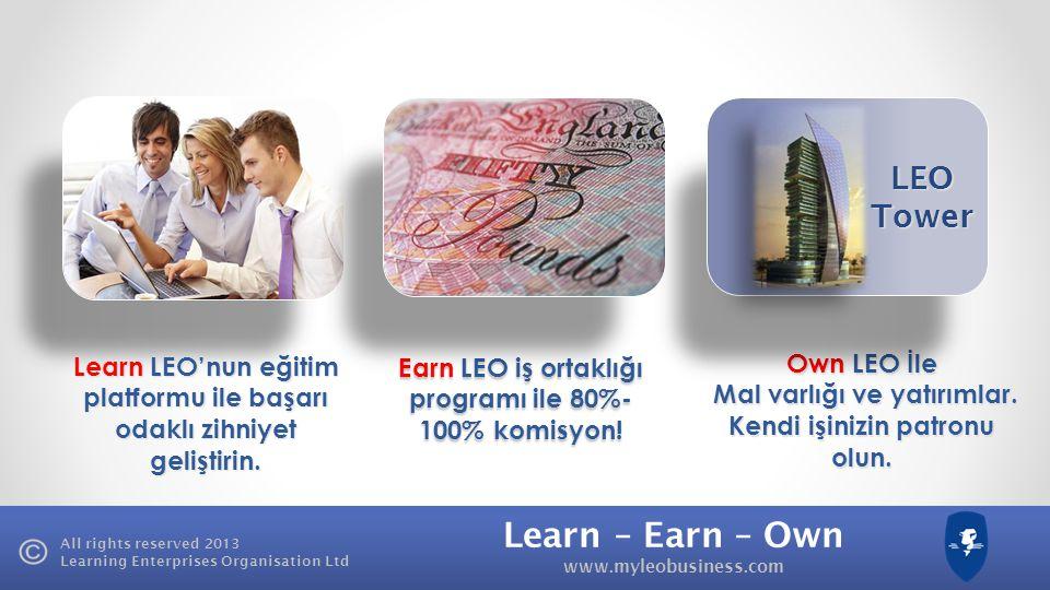Learn – Earn – Own www.myleobusiness.com All rights reserved 2013 Learning Enterprises Organisation Ltd Learn LEO'nun e ğ itim ürünleriyle ba ş arı odaklı zihniyet geli ş tirin.