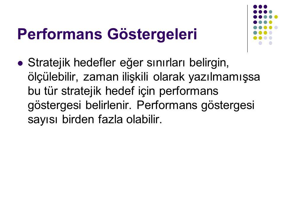 Performans Göstergeleri  Stratejik hedefler eğer sınırları belirgin, ölçülebilir, zaman ilişkili olarak yazılmamışsa bu tür stratejik hedef için performans göstergesi belirlenir.