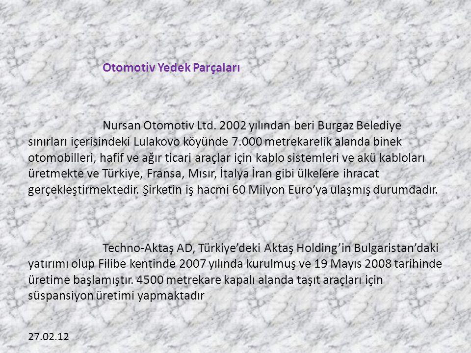 27.02.12 Otomotiv Yedek Parçaları Nursan Otomotiv Ltd. 2002 yılından beri Burgaz Belediye sınırları içerisindeki Lulakovo köyünde 7.000 metrekarelik a