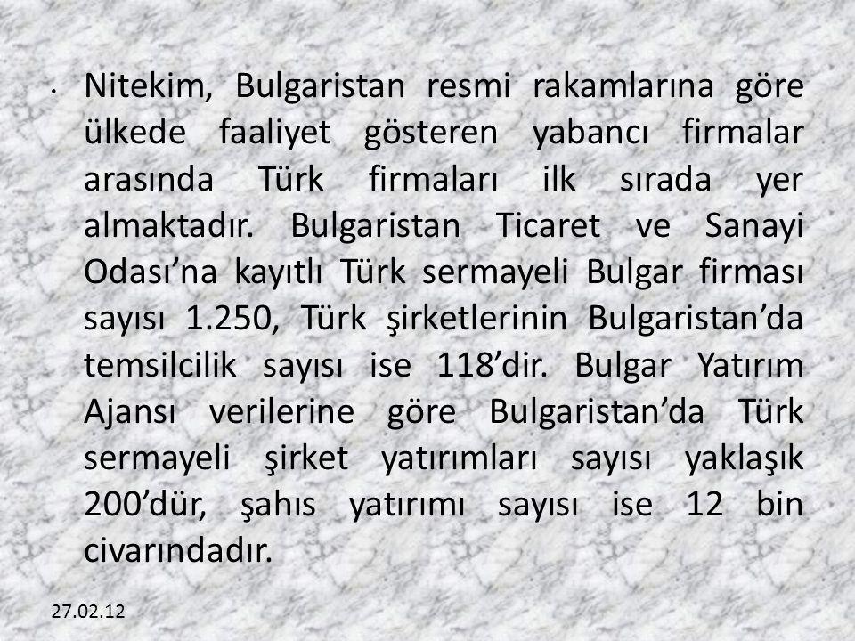 27.02.12 • Nitekim, Bulgaristan resmi rakamlarına göre ülkede faaliyet gösteren yabancı firmalar arasında Türk firmaları ilk sırada yer almaktadır.