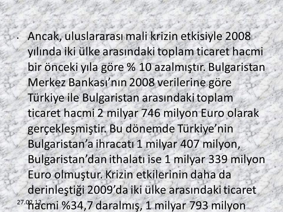 27.02.12 • Ancak, uluslararası mali krizin etkisiyle 2008 yılında iki ülke arasındaki toplam ticaret hacmi bir önceki yıla göre % 10 azalmıştır. Bulga