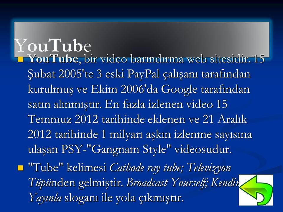 YouTube  YouTube, bir video barındırma web sitesidir. 15 Şubat 2005'te 3 eski PayPal çalışanı tarafından kurulmuş ve Ekim 2006'da Google tarafından s