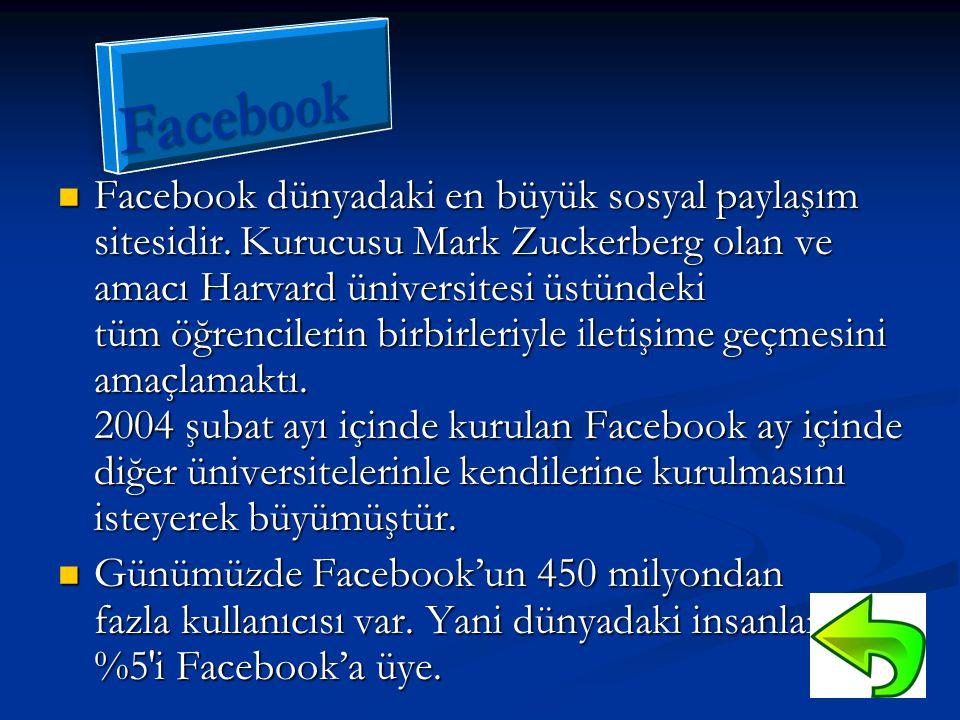  Facebook dünyadaki en büyük sosyal paylaşım sitesidir. Kurucusu Mark Zuckerberg olan ve amacı Harvard üniversitesi üstündeki tüm öğrencilerin birbir