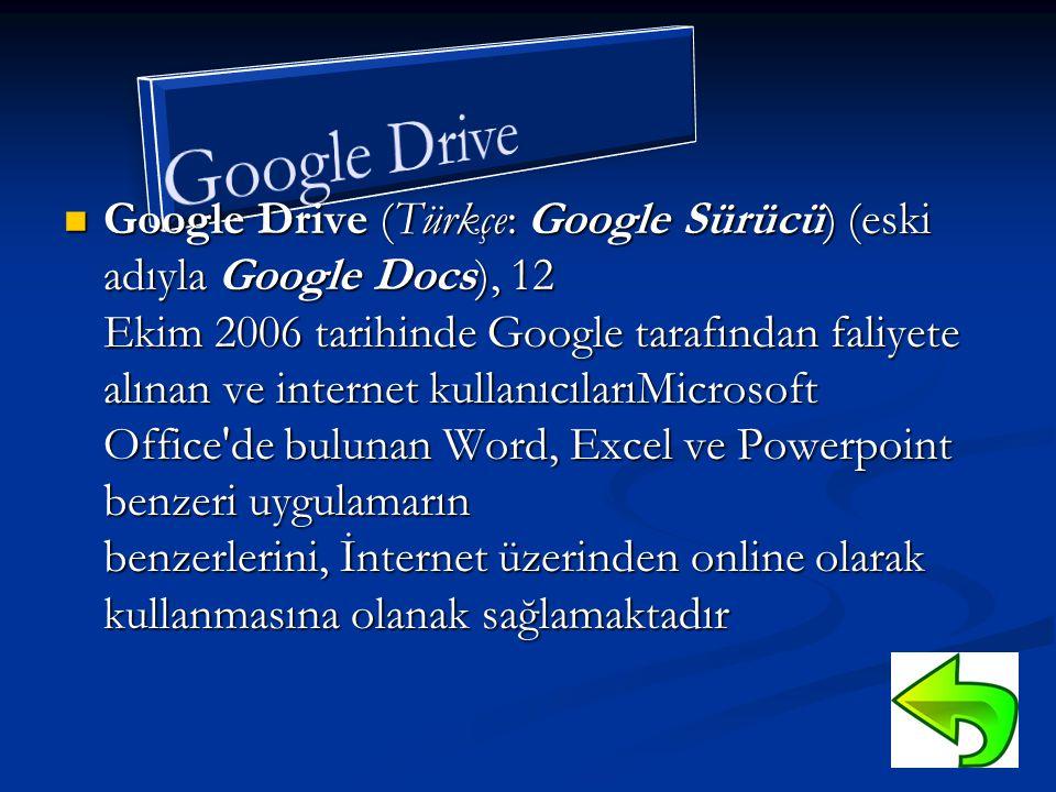  Google Drive (Türkçe: Google Sürücü) (eski adıyla Google Docs), 12 Ekim 2006 tarihinde Google tarafından faliyete alınan ve internet kullanıcılarıMicrosoft Office de bulunan Word, Excel ve Powerpoint benzeri uygulamarın benzerlerini, İnternet üzerinden online olarak kullanmasına olanak sağlamaktadır