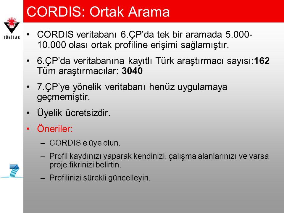CORDIS: Ortak Arama •CORDIS veritabanı 6.ÇP'da tek bir aramada 5.000- 10.000 olası ortak profiline erişimi sağlamıştır. •6.ÇP'da veritabanına kayıtlı